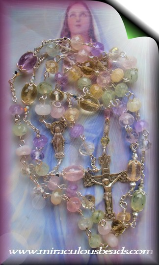 Miraculous Beads Handmade Rosary with Multi Gemstones .925 Sterling Silver
