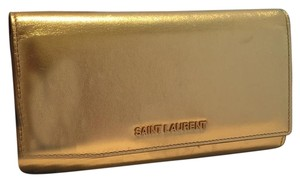 Saint Laurent Snap Mettalic Gold Wallet