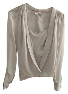 Diane von Furstenberg Silk Night Out Top light gray with black lines