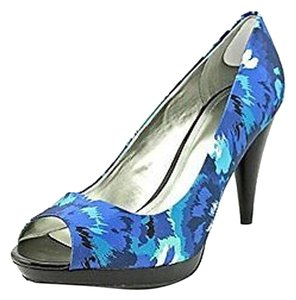 Style & Co Camouflage Blue Black Grey Peep Toe Multi-Color blue Pumps