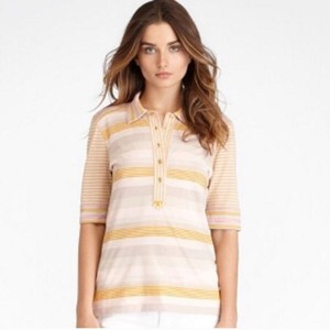 Tory Burch Logo Button Bauer Stripe Betsey Top