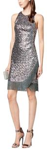 Betsy & Adam Sequin Fringe Racer-back Sheath Dress