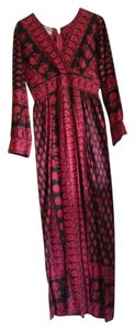black, red, pink Maxi Dress by Vintage