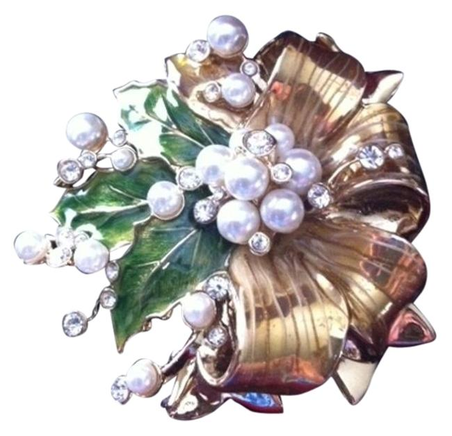 Item - Goldtone with Green Enamel Leaves White Pearls and Crystal Accents 2002 Floral Pin