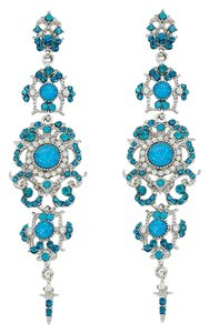 Other Blue Zircon Rhinestone Crystal Opal Dangle Earrings