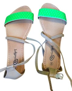 Lollipop Summer Tan and lime green Sandals