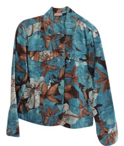 Chico's Linen Cotton Jean Floral Modern Turquoise/Brown Floral Womens Jean Jacket