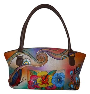 Annabelle Hand Painted Leather Tote Signed Satchel in brown multi color