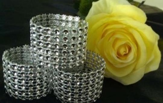 Veteran's Day Special 250 Silver Rhinestone Mesh Bling Napkin Rings Or Chair Sash Enhancer 6 Rows Reception Decoration