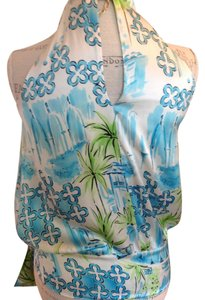 Lilly Pulitzer Sexy Silk Top Blue, Green, White