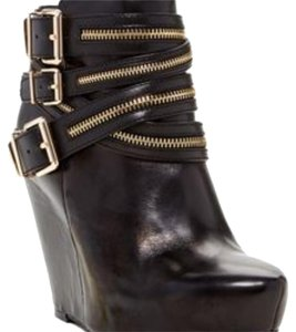 BCBGeneration Black with gold zippers. Wedges