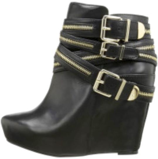 BCBGeneration Black with gold zippers. Wedges Image 1