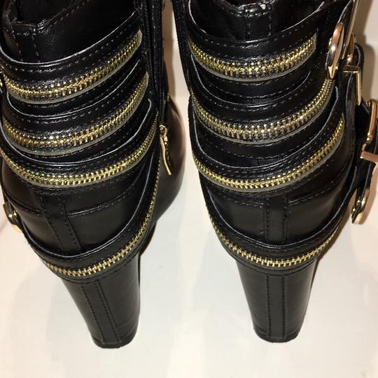 BCBGeneration Black with gold zippers. Wedges Image 4