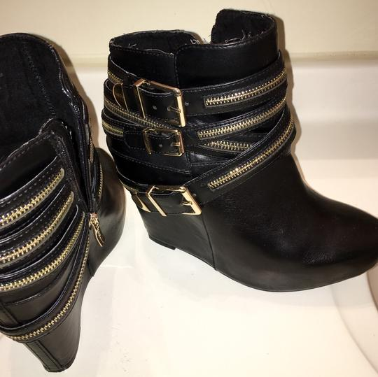 BCBGeneration Black with gold zippers. Wedges Image 5