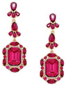 Fuchsia Pink Rhinestone Crystal Earrings