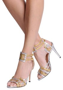 Charlotte Olympia Stiletto Geometric Metallic Handmade Silver and Gold Nappa Leather Strappy Sandals