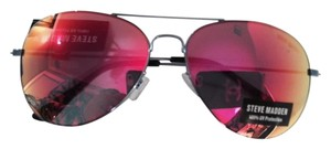 Steve Madden NEW -Aviators - blue metallic frame with multi color reflective/mirrored lenses (fuscia/gold) - SPECTACULAR!!