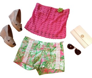 Lilly Pulitzer Preppy Hot Pink Mini/Short Shorts Pink, White, Green