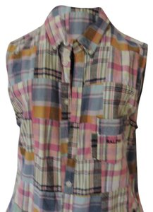 Ralph Lauren short dress Madras Plaid Shirt Style Button Front Modern Sleeveless Runs Small on Tradesy