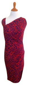 Halston short dress red and blue Cocktail Pattern Summer Comfortable on Tradesy