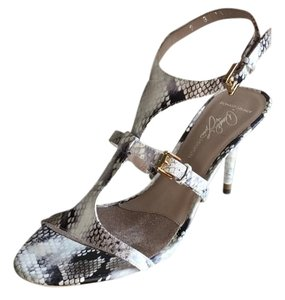 Donald J. Pliner Snakeskin Ankle Strap J. Stilleto Leather Python print Sandals
