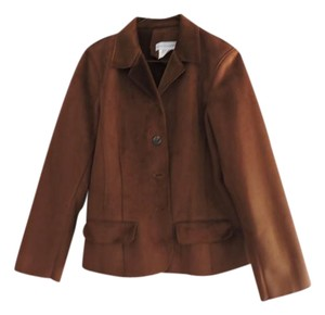 Harvé Benard Ultra Suede Soft Plush Flap Pockets Princess Seams Button Front Rich Brown Blazer