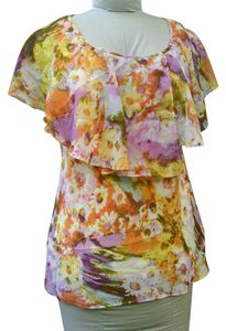 Sunny Leigh Sleeveless Ruffle Floral Top Multicolor Yellows, Oranges, Violets