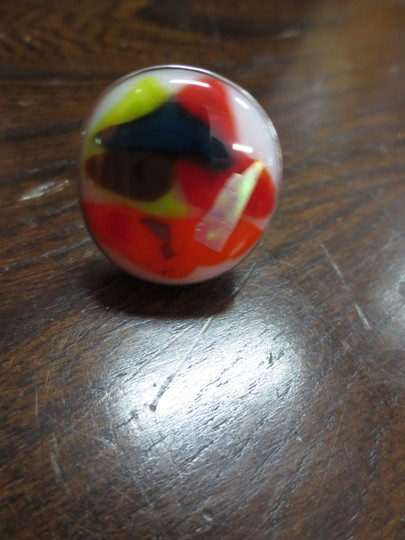 Other Vintage Art Glass and Sterling Silver Ring Size 7.5