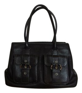 Ann Taylor LOFT Leather Pebbled Buckle Pocket Satchel in Black