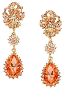 Peach Rhinestone Crystal Earrings