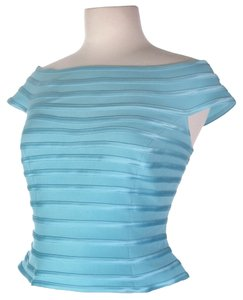 JS Collections Body Con Bandage Evening Top Aqua blue