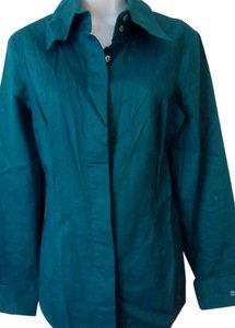 Suzanne Somers Sophisticated Comfort Button Down Shirt Aqua Teal