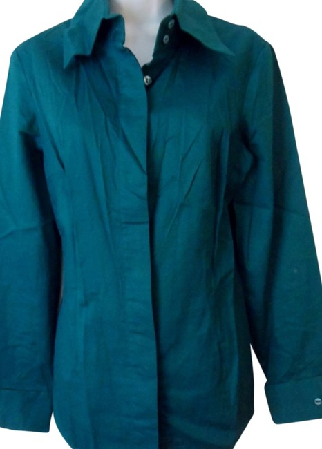 Suzanne Somers Sophisticated Comfort Teal Pleated Back Button Down Shirt Aqua Teal