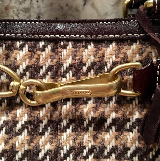 Coach Satchel in Houndstooth Brown Image 1