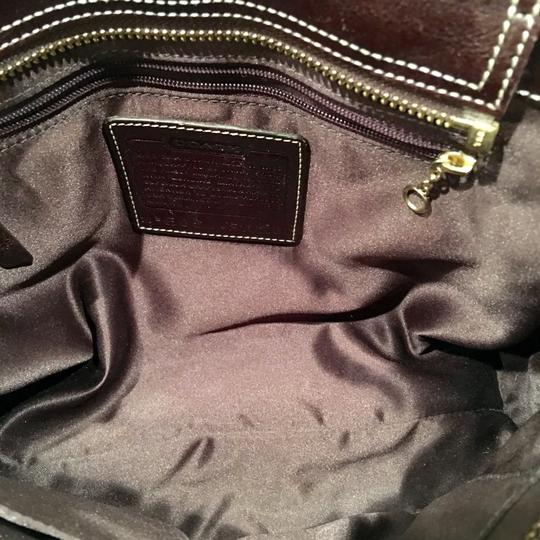 Coach Satchel in Houndstooth Brown Image 9