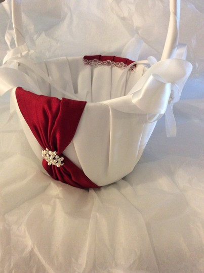David's Bridal White with Apple Accent Flower Girl Basket