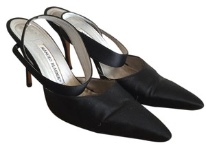 Manolo Blahnik Vintage Satin Ankle Strap Black Pumps