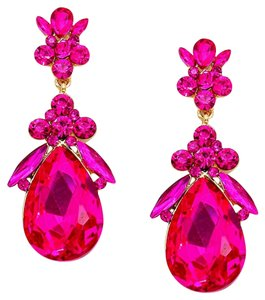 Other Fuchsia Pink Rhinestone Crystal Teardrop Earrings