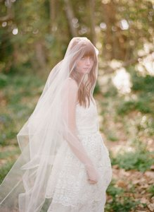 BHLDN Ivory Long Twigs & Honey Raw Edge Cathedral Bridal Veil