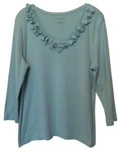 Talbots Mixed Fabric Knit Cotton Xl Top Light Aqua Blue