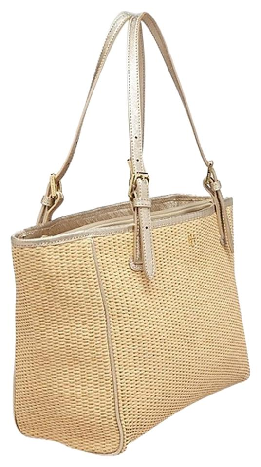6fa75e3ee10e Tory Burch Small Buckle W Dustbag Natural Gold Straw Leather Tote ...