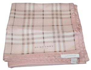 Burberry Authentic Burberry Beige Nova Pink /cream Check Silk Square Scarf with shopping bag