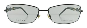 Gucci New Gucci GG 4251 4SI Gloss Black Metal Chain Full-Frame Eyeglasses 57mm Made in Italy