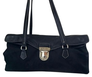 Prada Flap Nylon Leather Satchel in black