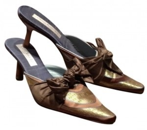 Other Bronze and denim silk Mules
