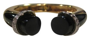 Other Vintage 18KT Yellow Gold Diamond Onyx Cuff Bangle Bracelet