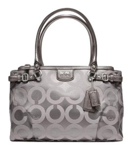 Coach Satchel in Silver/Oyster