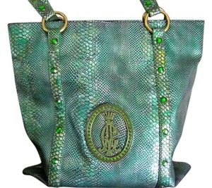 Christian Audigier Leopard Lining Tote in Iridescent Green Snakeskin
