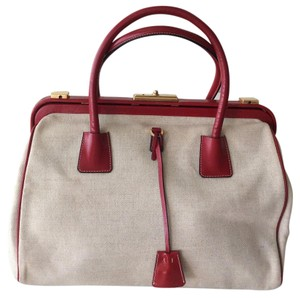 Prada Satchel in neutral canvas with red leather piping