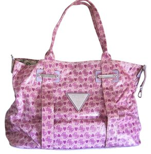 Guess Rhinestone Hearts Tote in Light Purple